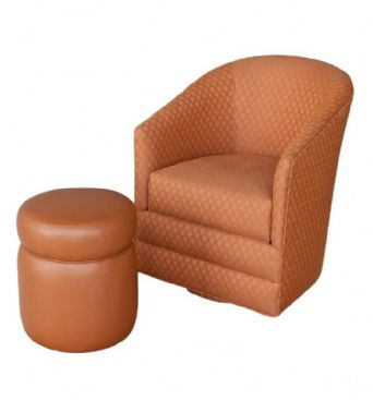 MAR-25BL Barrel Chair with Ottoman
